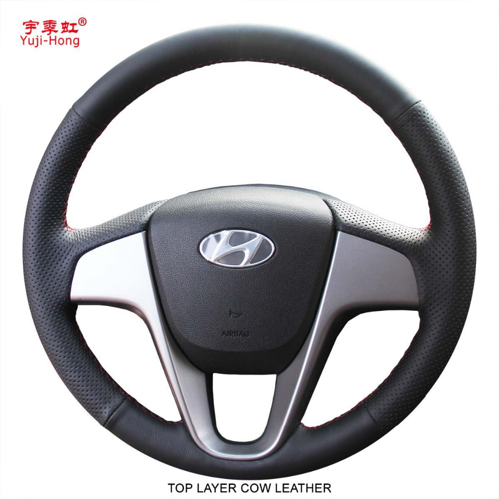Yuji Hong Top Layer Genuine Cow Leather Car Steering Wheel Covers Case for Hyundai Verna i20