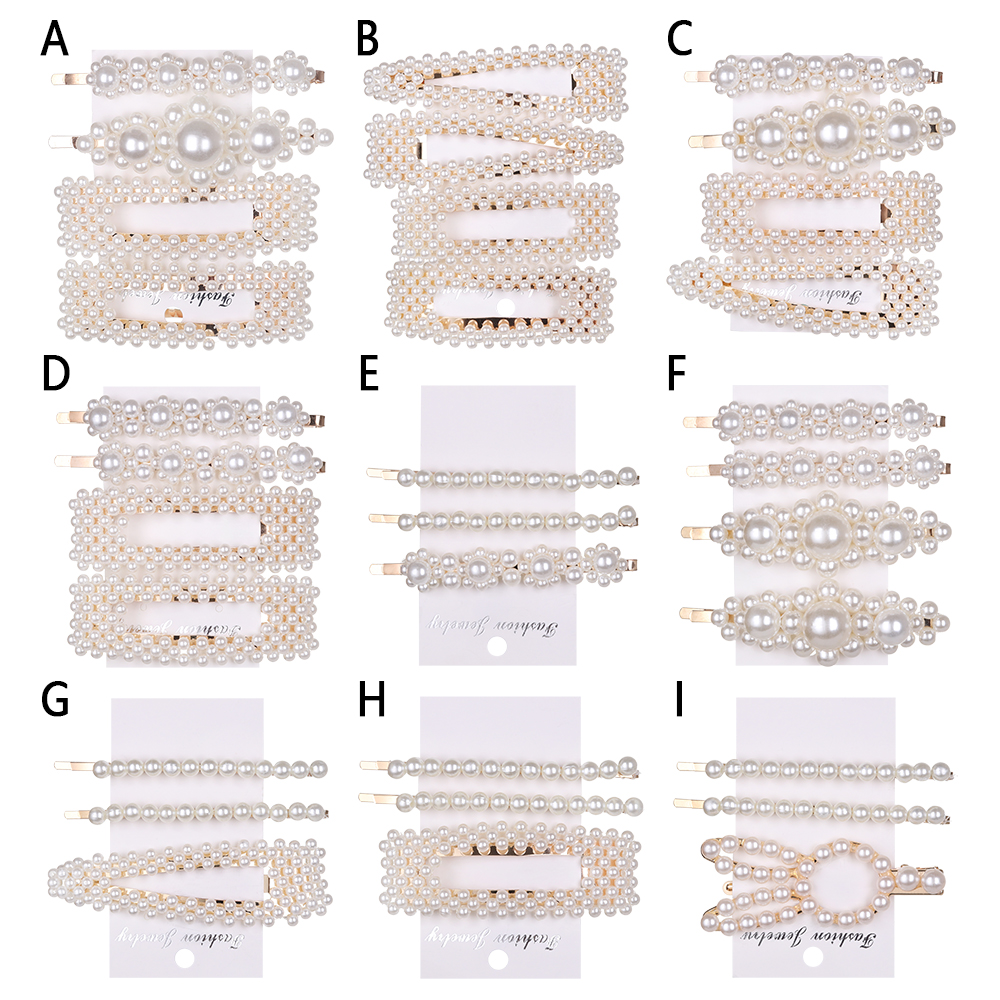 1Set Fashion Imitation Pearl Hair Clips Women Hair Barrette Hair Pins  Handmade Hair Accessories Styling Tools For Girls Gifts
