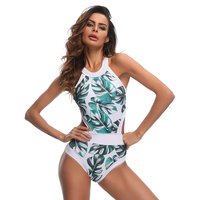 Bonitakinis Retro Style Swimsuit Push Up Bathing Suits High Neck Bodysuit Leaf Printed Beach Wear Sexy
