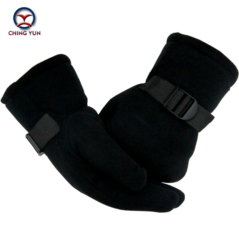 Men Gloves Winter Polar Fleece Black Thick Cotton Mittens Outdoor Activities Soft Warm Adjustable Wrist Fleece LiningArm Sleeve