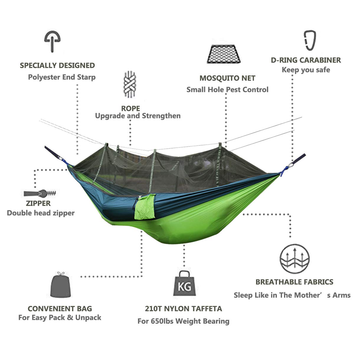Portable Hammock High Strength Parachute Hanging Bed With Mosquito Net For Drop shipping Outdoor Travel Camping Hammock Chair in Hammocks from Furniture
