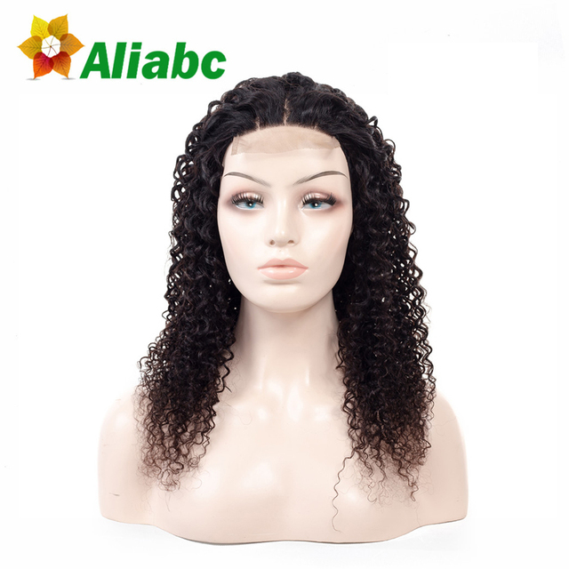 Aliabc Brazilian Lace Frontal Closure Kinky Curly 100% Human Hair Wigs For Black Women Natural Color Non-Remy Hair Extensions