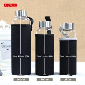 Image 2 - AIWILL gorąca sprzedaży szklana sportowa butelka na wodę z obudowa ochronna 280ml / 360ml / 550ml butelki na rower owocowy wysokiej jakości