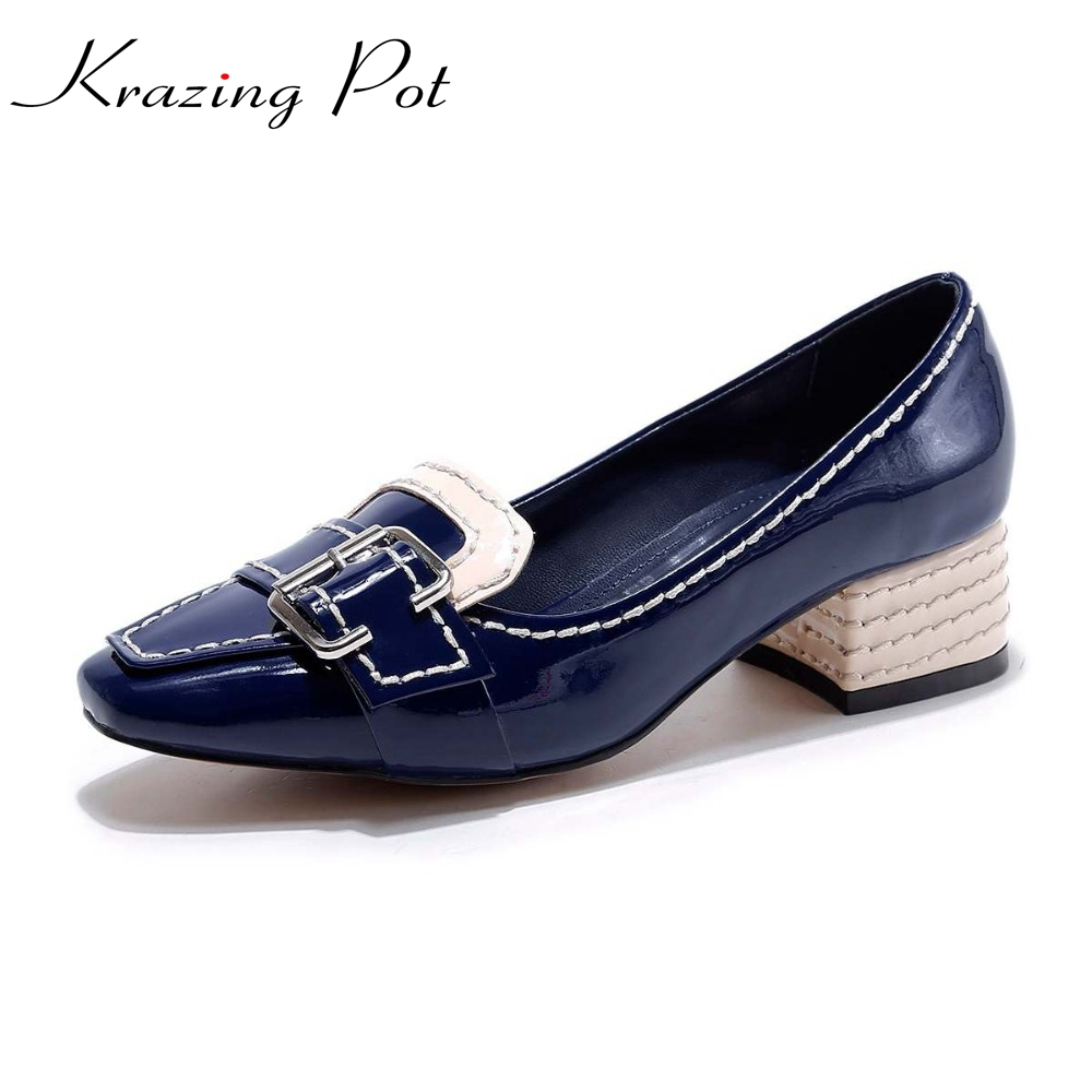 2017 Krazing pot fashion party medal buckle med heels shallow pumps square toe slip on women brand shoes genuine leather L5f2 gold chain party 2017 spring summer casual shallow slip on square toe bling square heels women pumps free ship mujer pantufa