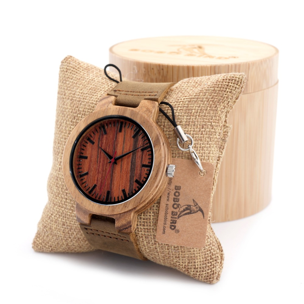 BOBO BIRD Luxury Casual Wood Bamboo Watches Relogio Masculino Wooden Wristwatch Quartz Fashion Watch Real Leather Band Clock D17 bobo bird v o29 top brand luxury women unique watch bamboo wooden fashion quartz watches