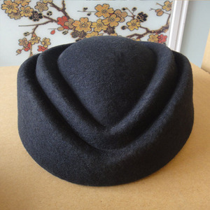 Image 4 - Fancy Elegant Pure Wool Cap Air Stewardess Hat 7cm Height Solid Pillbox Hat Cocktail Fascinatot Beret Hat Base Millinery