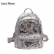 Новое поступление 2017 года блесток рюкзак мини-рюкзак женщины Bagpack черный, серебристый цвет розовый Mochila Feminina рюкзаки для девочек-подростков
