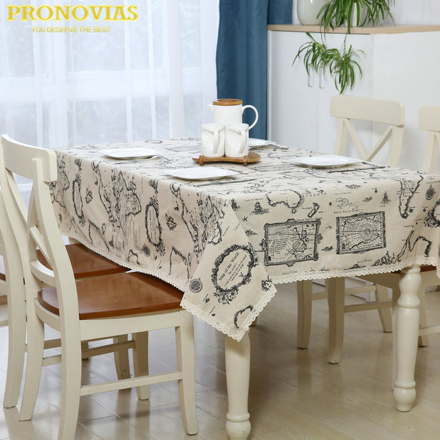 Pronovias Navigator Map Waterproof Linen Table Cloth Lattice Decorated