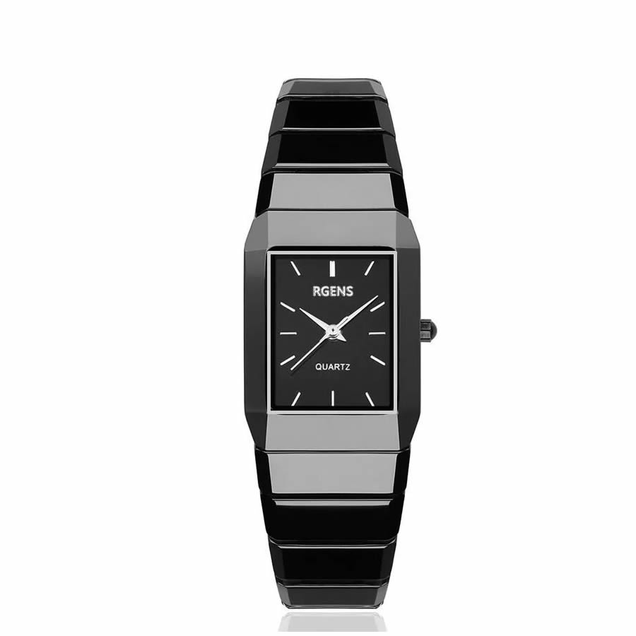RGENS marchio ufficiale delle signore orologi da donna orologi da polso nero 100% del quarzo di ceramica quadrato di lusso delle donne orologi 30 m impermeabile