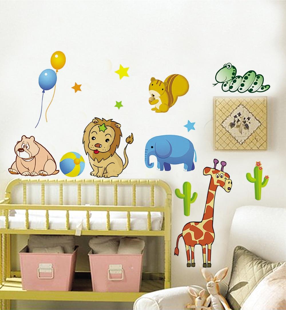 Cartoon Cute Lion Elephant Giraffe Bear Snake Squirrel Wall Decals ...