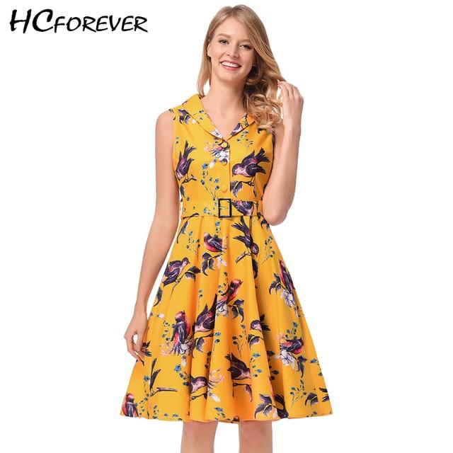 Vintage Yellow Dress Shirt Dress Women Floral Print 50s 60s Belt Elegant  Retro White Office Work Midi Dresses Ladies 2018 New db795ab19b