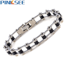 1X Chic Men Silver Stainless Steel Bracelet Fashion Black Bike Bicycle Cool Bangle Bracelet Cuff Wristband Charm jewelry Gift new fashion punk jewelry men bracelet stainless steel cuff bangle silver hand chain black silicone wristband