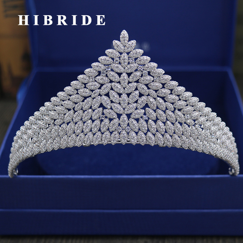 HIBRIDE Top European Crystal Wedding Tiaras Crown Luxury Bridal Hair Accessories With White Gold Color C-23