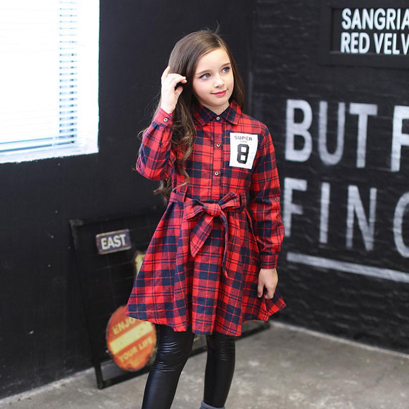 Girls Princess Birthday Dresses 2018 Cotton Long Sleeve Kids Red England Plaid Dress For girl clothing5 8 9 10 11 12 13 14 Years plaid belted vintage dress page 9