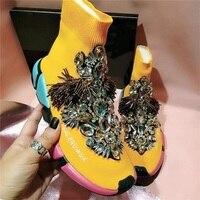 Европейский станция Новый толстый низ стрейч Носки обувь корейской версии Досуг Стразы кисточкой вязать Baita Высокая помощь