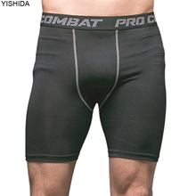 YISHIDA Men's Bodyboulding Shorts Compression Shorts dryfit running shorts male Fitness Sweat Elastic gym short pants MMA trunks