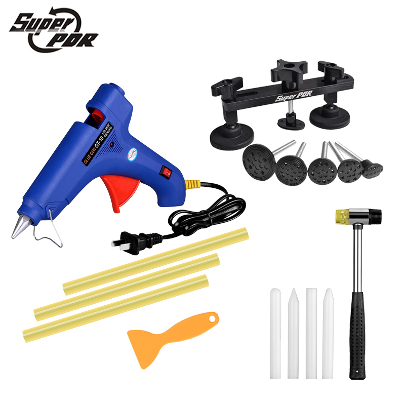 PDR Tools kit Paintless Dent repair tools pulling bridge glue gun 15pcs Dent Removal hand tools set auto body repair tools стоимость