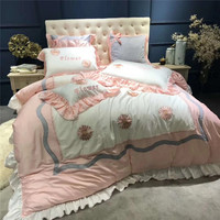 Pink Sunflower Lotus Leaf Edge Embroidery Cotton Bedding Set Duvet Cover Bed Linen Bed sheet Pillowcases King Queen Size 4/5PCS