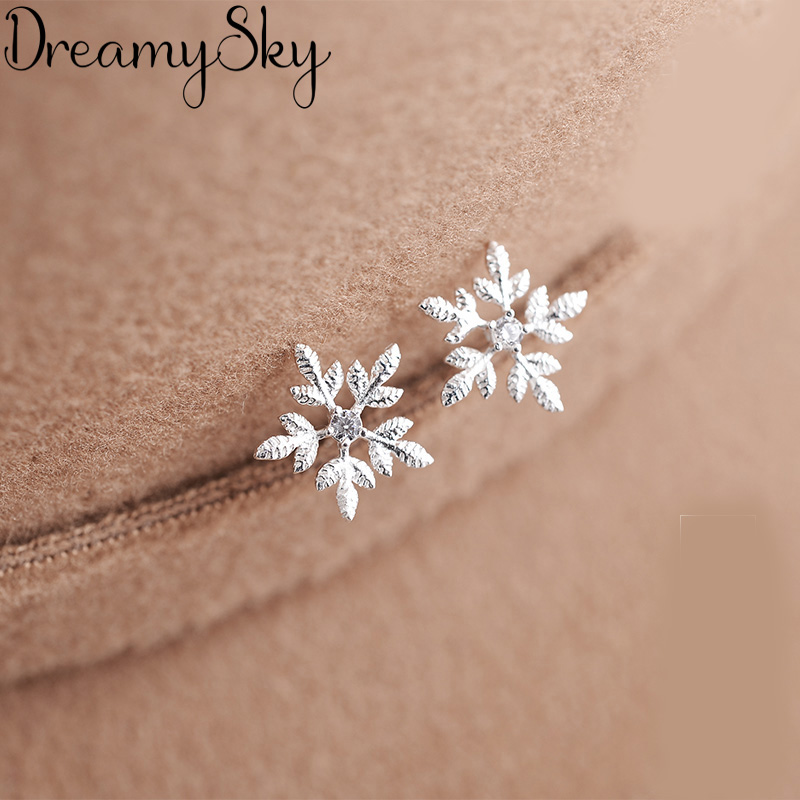 DreamySky Brand Ear Jewelry Silver Color  Statement Earrings For Women Ladies Girls Snow Earrings Femme Gifts Brincos