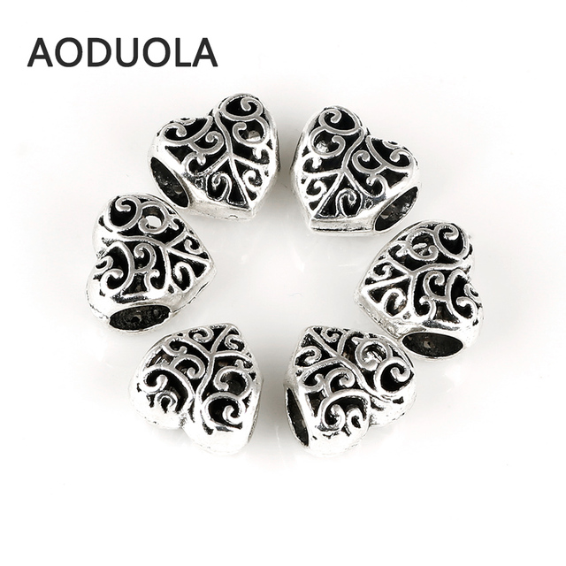 10 Pcs a Lot Silver Alloy Beads Heart openwork DIY Big Hole Beads Spacer Murano