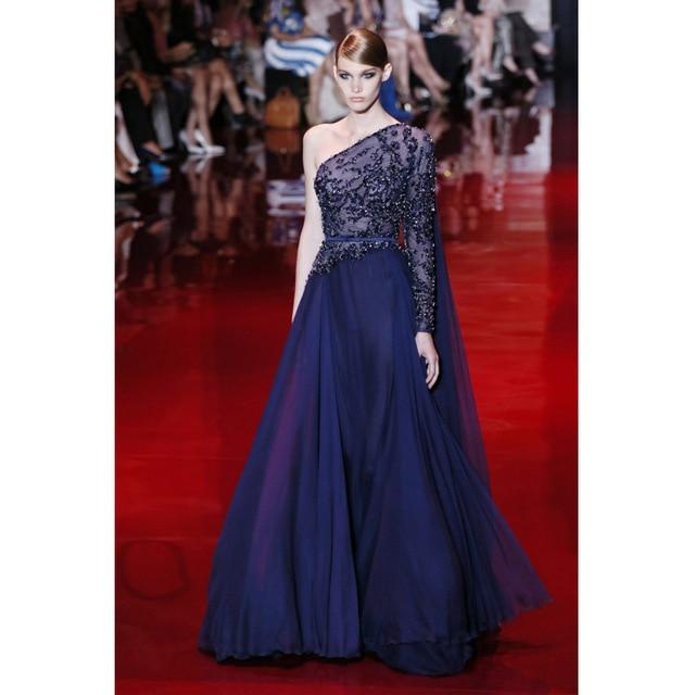 Elegant 2016 One Shoulder Beading Long Sleeve Royal Blue Zuhair Murad Evening Dresses Dress Custom Made