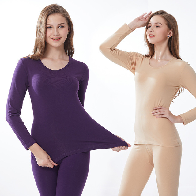 Long Johns Women Spring Autumn Winter Thermal Underwear Set Underwear Sexy Sleep Top And Bottom Cotton Slim Bodycon Lady Suit