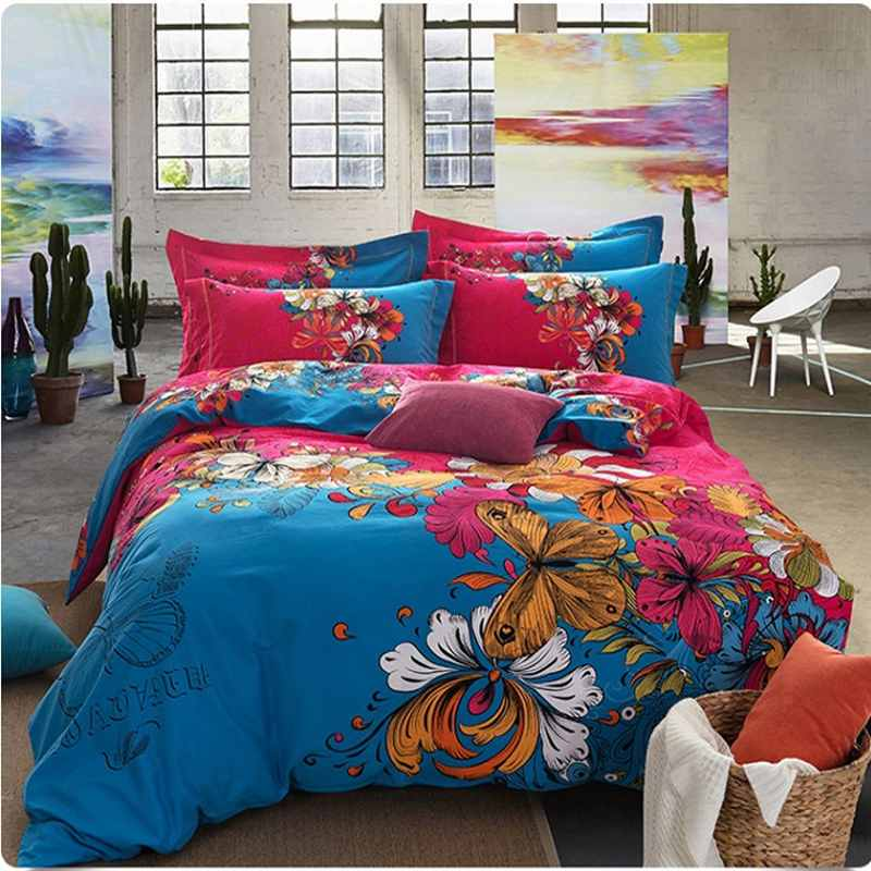 butterfly printing duvet cover set queen king size,sanded cotton winter warm doona bedding sets luxury boho bedclothes bed linen