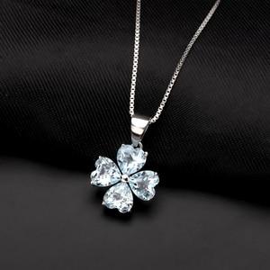 Image 2 - GEMS BALLET 3.83Ct Natural Sky Blue Topaz Gemstone Pendant 925 Sterling Silver Clover Pendant Necklace For Women Fine Jewelry