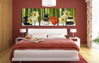 Modern White Flower Paintings Large Abstract Art 3 Piece Home Decorative Wall Canvas Picture Set