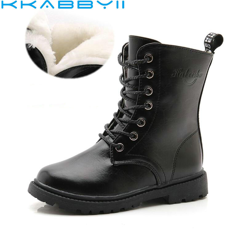 Boys Girls Boots Children's Winter Boots Shoes Waterproof Martin Boot Ankle For Kids Female Snow Fur Red Black|girl boots children winter|boots children winter|children winter boots - title=