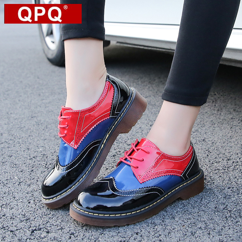 QPQ Patent Leather Women Oxfords British New Spring Platform Flats Casual Lace-Up Ladies Brogue Shoes Woman Color Stitching qmn women snake effect leather brogue shoes women round toe platform oxfords shoes woman genuine leather casual platform flats