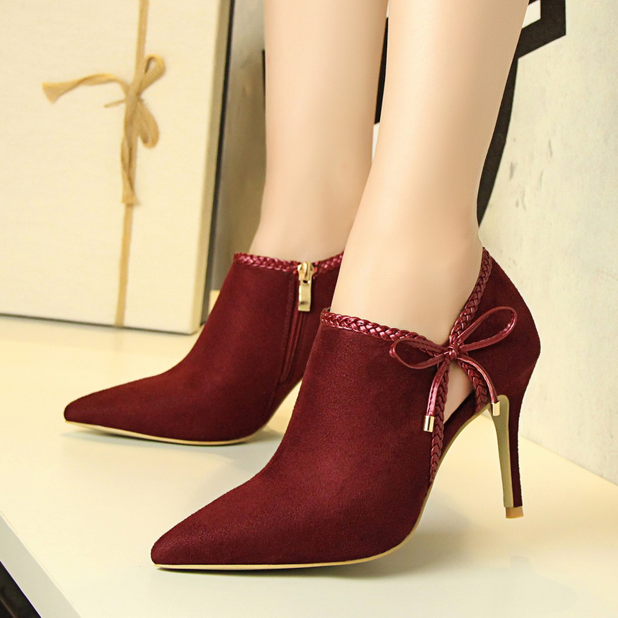ФОТО Women Flock Butterfly-knot Thin High Heeled Lady' Sexy Wedding Shoes red bottom high heel zapatos mujer Cutouts Khaki Color