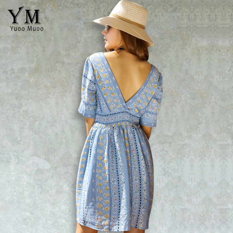 Yuoomuoo backless blue flower print short party dress mujeres bohemia dress vint