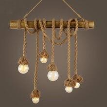 Винтажный Лофт светильник из бамбуковой пеньковой веревки Люстра