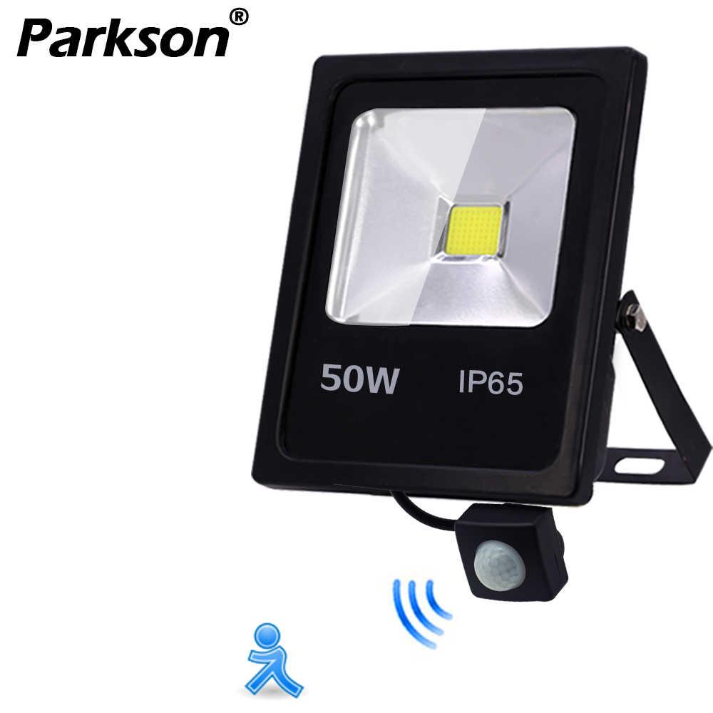Датчик движения светодиодный прожектор IP65 Водонепроницаемый 50 Вт 30 Вт 10 Вт отражатель прожектор лампа AC 220 В foco светодиодный внешний уличный прожектор