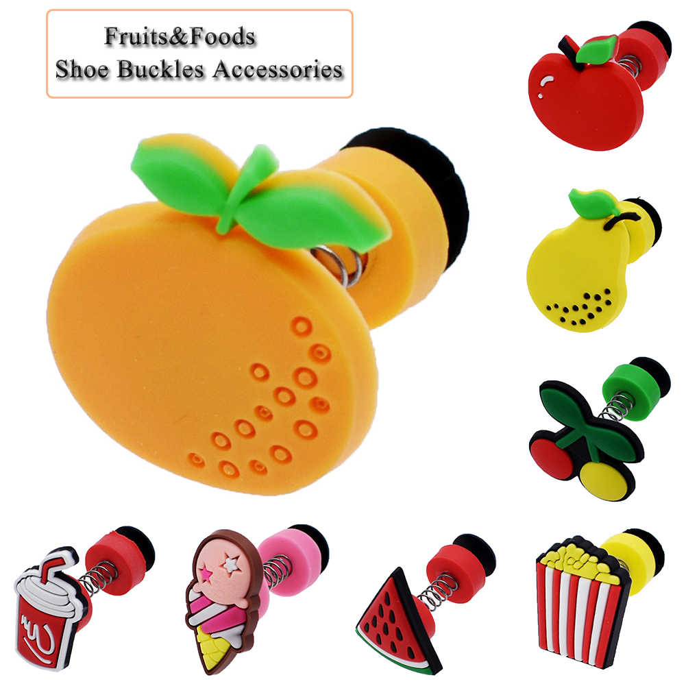 1Pc Cute Fruits&Flowers PVC  Shoe Charms Shoe Buckles Accessories Shoe Decoration for Croc JIBZ/ Wristbands kids Party Xmas Gift