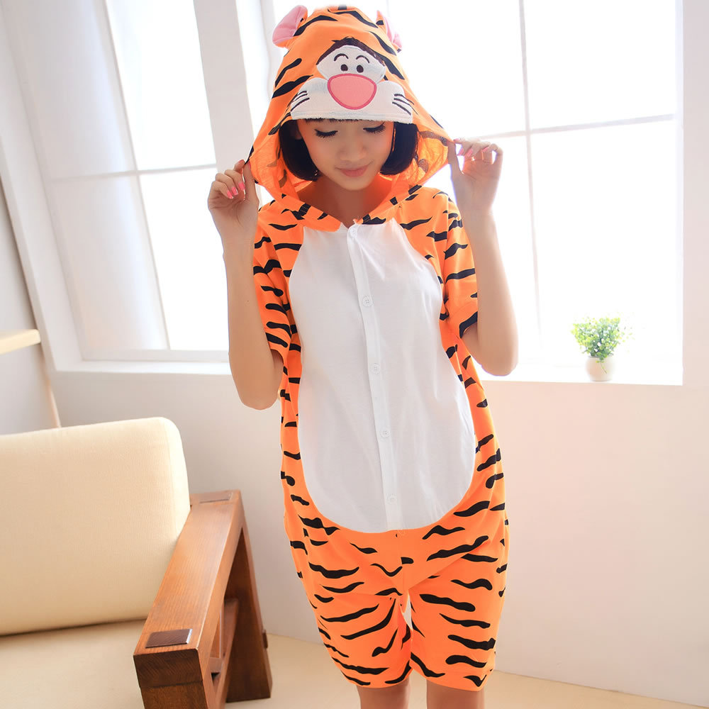 Kigurumi Onesie Unisex Adult Women Tiger Pajamas Costume Animal Cosplay Summer Short Sleeve Cartoon Hoodie Sleepwear