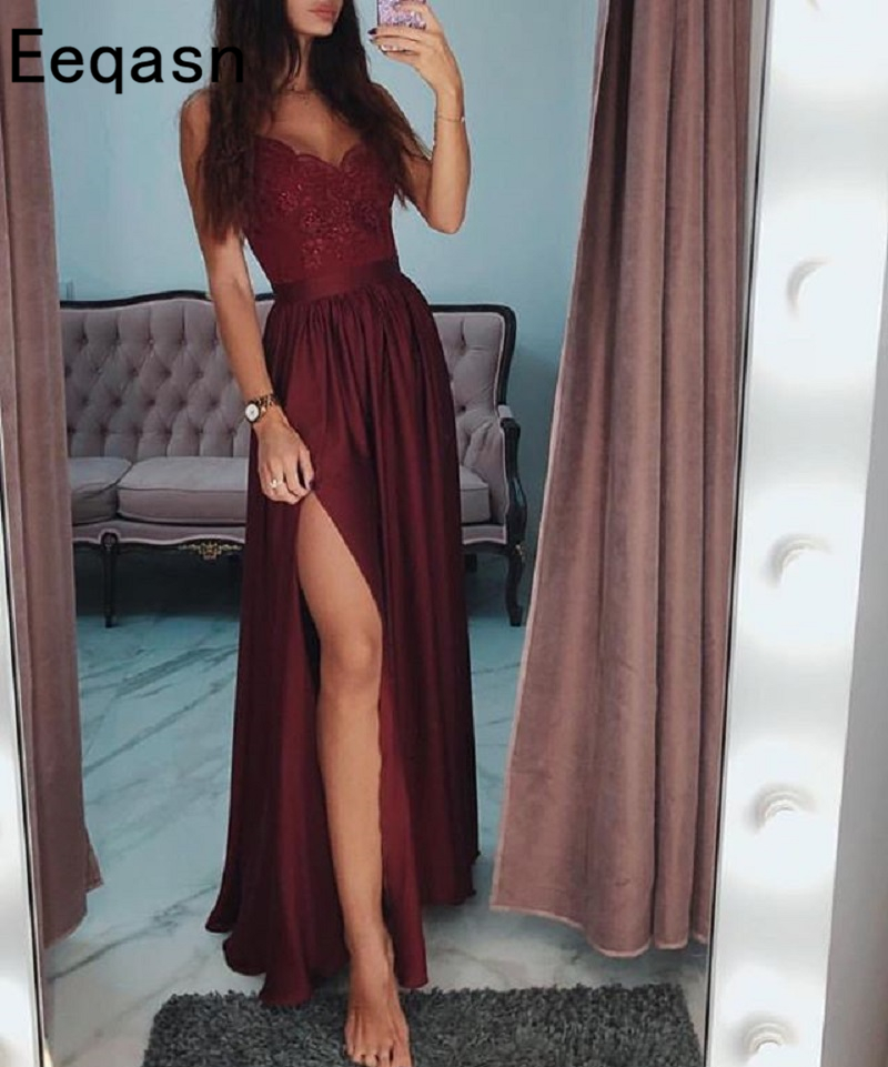 Burgundy Evening Dress 2019 High Quality Lace A Line High Split Floor Length Long Prom Gowns Custom Cheap Robe De Soiree