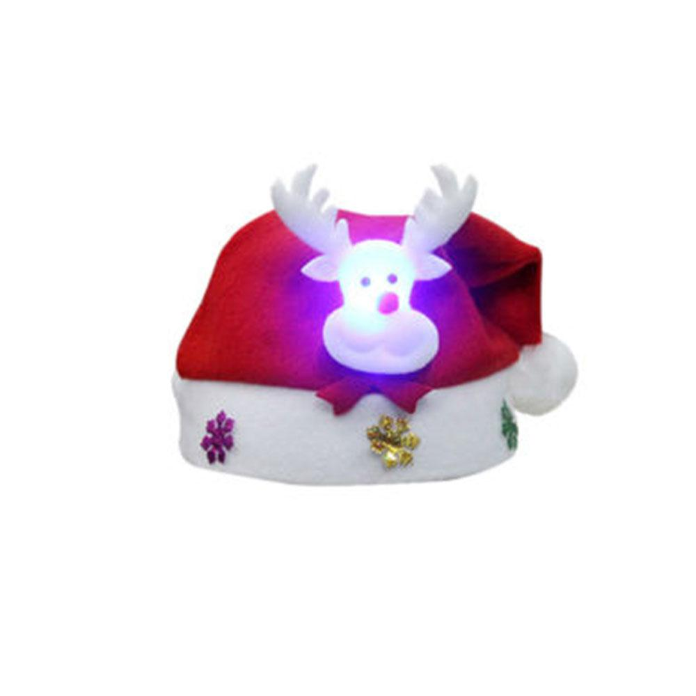 Vin Beauty 2017 Christmas Children Hat Kids Cap Luminous Glowing Headgear Santa Claus Elk Snowman Baby Festival Gifts Decoration inflatable cartoon customized advertising giant christmas inflatable santa claus for christmas outdoor decoration