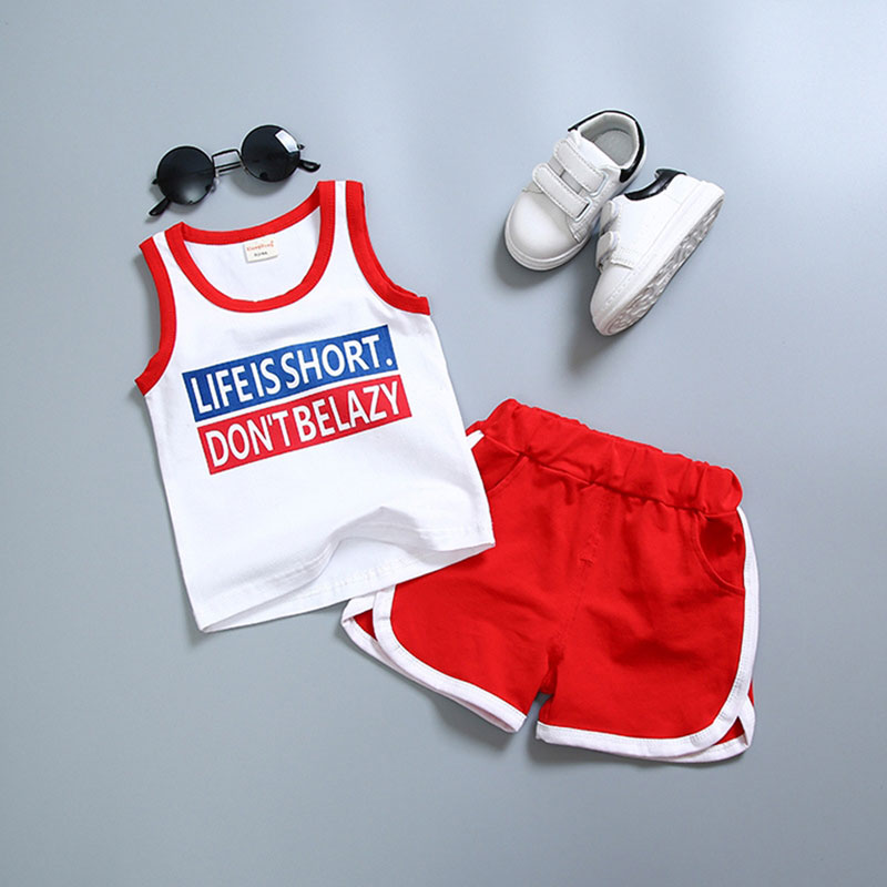 New Fashion Baby Boys Clothes Set Sleeveless sports Suit For newborn kid tracksui Child Clothing summer Cotton Costume Suits