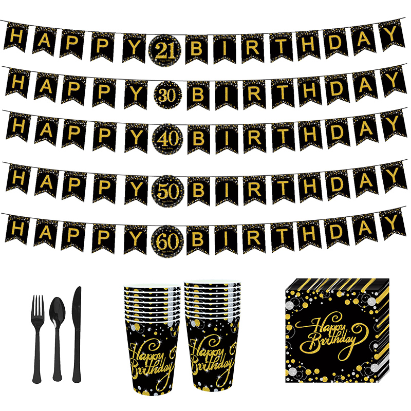 Gold Black Happy Birthday Bunting Banner Tableware Paper Cup Plate Napkins for 21 <font><b>30</b></font> 40 50 60 Birthday <font><b>Party</b></font> <font><b>Decoration</b></font> Supplies image