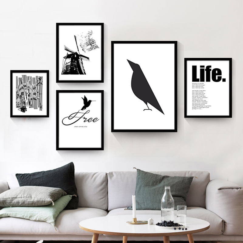 Modern nordic minimalist black white animals bird art for Black and white mural prints