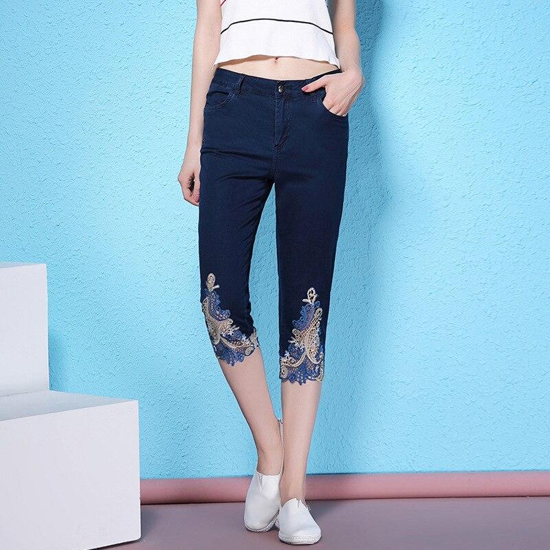 Dark Été Jeans D'été Nw17b1088 Crayon Évider Broderie Femmes Dentelle Blue Couture Pour longueur Veau Mince Nouvelle UURxr6