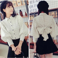 Nueva primavera otoño mujeres a cuadros de manga linterna Shuhind grandes camisas camisa de la blusa de color blanco lechoso 3265