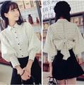 Outono primavera mulheres camisa xadrez Shuhind grande blusa manga lanterna branco leitoso 3265