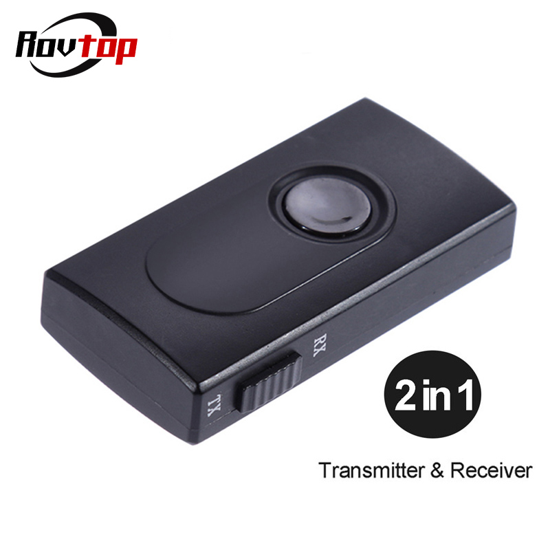 Rovtop 2 in 1 Wireless Bluetooth Receiver Adapter Transmitter Stereo Audio MP3 Adapter with 3.5mm Audio Cable For TV PC Car Z2