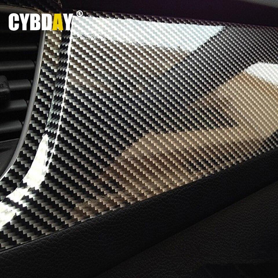 Car carbon sticker design - Diy 50cmx200cm Car Sticker 5d High Glossy Film Change Color Auto Exterior Carbon Fiber Accessories Interior