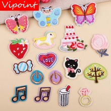VIPOINT embroidery note buttlefly trees patches cats strawberry badges applique for clothing YX-251
