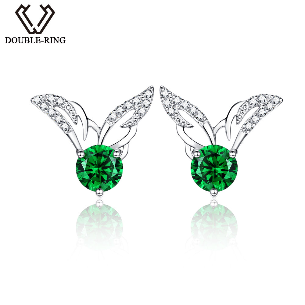 DOUBLE-R Earrings For Women Real 925 Sterling Silver Earring With Created Emerald Gemstone Fine Jewelry