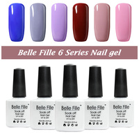 Belle Fille 12 Pcs Nude Gel Nail Polish Beige Varnish Nail Gel UV Manicura permanente Fashion 6 Color Series Red Wine UV Gels